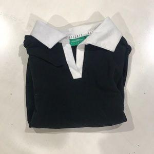 Black short sleeved shirt with white trim